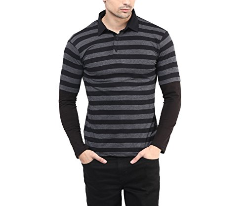 Hypernation-Black-and-Grey-Color-Polo-Neck-T-Shirt-for-Men