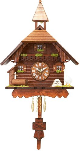 River City Clocks Quartz Cuckoo Clock – Chalet with Goose, Pump, & Ringing Bell – Westminster Chime or Cuckoo Sound – 10 Inches Tall – Model # 2220Q-10WC