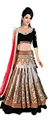 London Beauty Women's Brocade & Georgette Lehenga Choli (LB003005__Off White & Coffee_Free Size)
