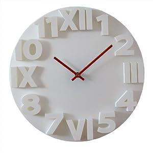 Horloge murale relief blanche 36 cm cuisine maison - Horloge murale blanche ...