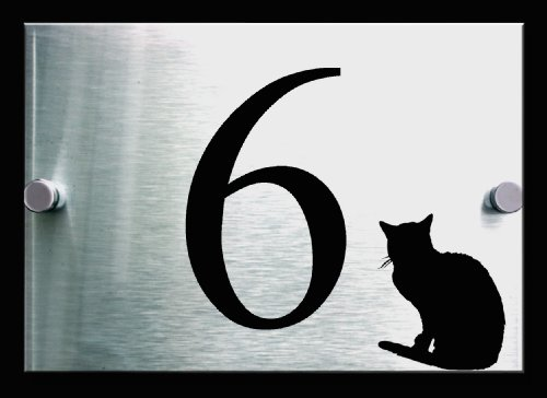 The Cats Whiskers House Number Sign | 2 Part Acrylic & Brushed Aluminium Premium Plaque