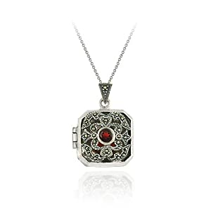 Sterling Silver Marcasite and Garnet Filigree Square Locket Pendant