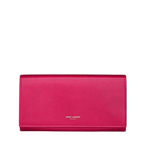 (サンローランパリ) Saint Laurent Classic SAINT LAURENT PARIS Large Flap Wallet In Black,Dark Magenta,Red,Fuchsia,Blush Leather (並行輸入品) LASTERR (Fuchsia)