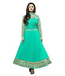 Varibha Women's Branded Indian Style Georgette Turquoise Salwar Suit Dress Material ( Best Gift For Mom, Wife, Sister )
