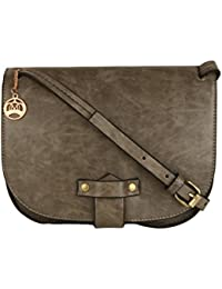 Moedbuille Grey Polyurethane (PU) Sling Bag