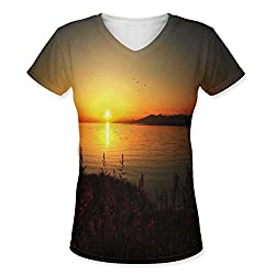 Snoogg Sun Rising Womens Casual V-Neck All Over Printed T Shirts Tees