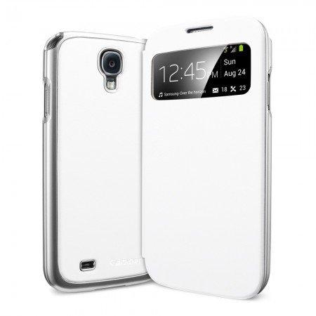 ** view 機能 ** Spigen ウルトラ・フリップ View Galaxy S4 ケース 国内正規品 (メタリック・ホワイト)