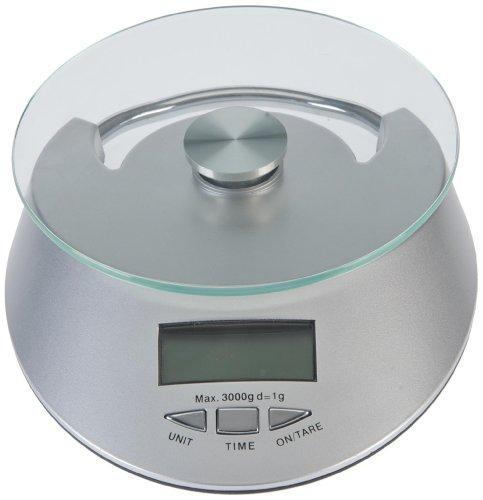 Top Hit 253910 Balance de cuisine digitale avec fonction tare et horloge incorporée Graduations de 1 g à 3 kg Argenté