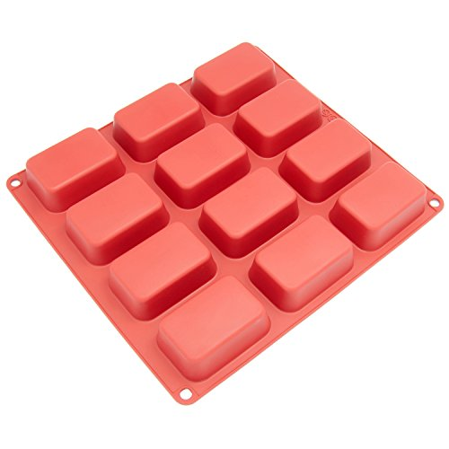 Freshware CB-105RD 12-Cavity Petite Silicone Mold for Soap, Bread, Loaf, Muffin, Brownie, Cornbread, Cheesecake, Pudding, and More