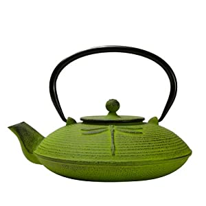 Primula Green Dragonfly 28 Ounce Cast Iron Teapot