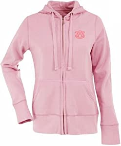 Auburn Ladies Zip Front Hoody Sweatshirt (Pink) by Antigua