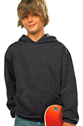 Lat Youth Fleece Hooded Pullover Sweatshirt With Pouch Pocket (Vintage Smoke) (XL)