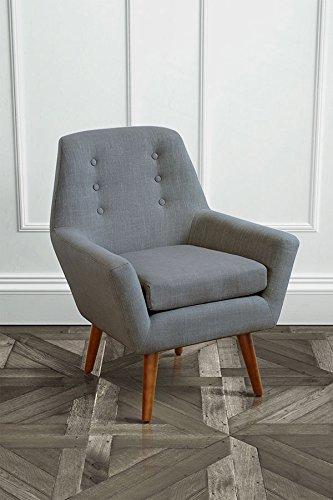 MY-Furniture VIVIENNE Grigio di Francia - Poltrona retrò con gambe finitura in noce