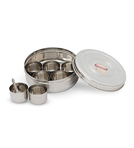 Shubham Steel Spice Container Masala Dabba - Medium (SR Puri RBW)  available at amazon for Rs.399