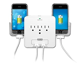 Yubi Power Smartphone Holder Charging Station - Dual Side Slide Out Smartphone Holder - 2 USB Ports Plus 3 Surge Protection Power Outlets -Slim and Compact