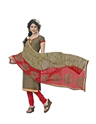 Desi Look Women's Beige Cotton Dress Material With Dupatta - B019IBJ1O2