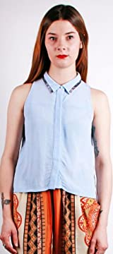 SLEEVELESS PIPING BLUE TOP