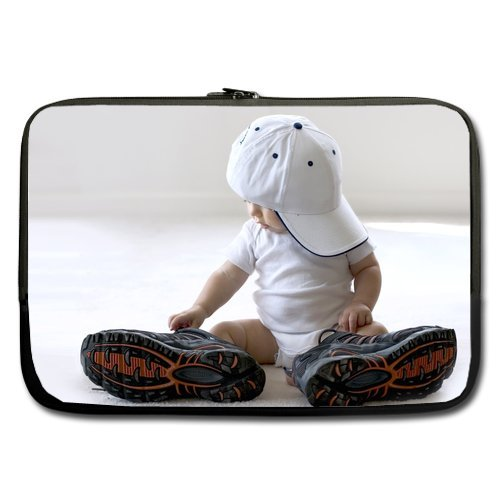 Cute Baby Wearing Big Shoes Sleeve For Macbook Pro 15 Inch (Two Sides) front-208699