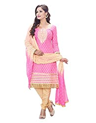 RK Fashion Womens Cotton Un-Stitched Salwar Suit Dupatta Material ( MITTAL-SANAM-7001-Pink-Free Size )