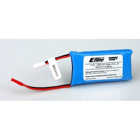 Battery, 7.4V 1200mAh 2-Cell LiPO, JST