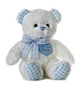 Aurora Plush Baby 14 inches  Blue My First Teddy Bear
