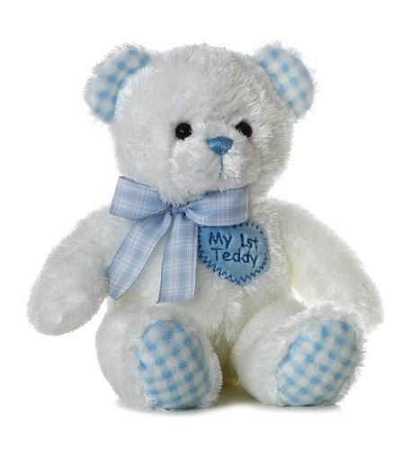 Aurora Plush Baby 14 inches  Blue My First Teddy Bear