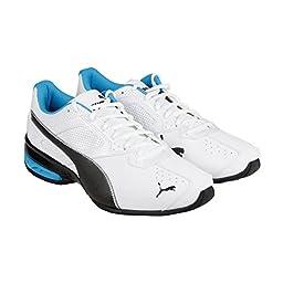 PUMA Men\'s Tazon 6 Sneaker, White/Black/Atomic Blue, 10.5 D US