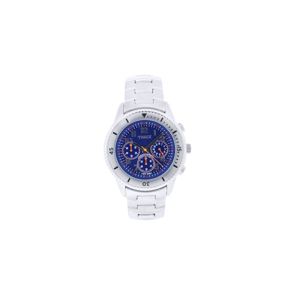 Timex Mens T2N161 Premium Chronograph Silver Tone Stainless Steel Bracelet Blue Dial Watch