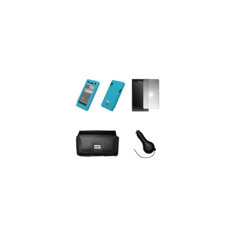 EMPIRE Black Leather Case Pouch with Belt Clip and Belt Loops + Light Blue Silicone Skin Cover Case + Mirror Screen Protector + Retractable Car Charger (CLA) for Motorola Droid 2 A955