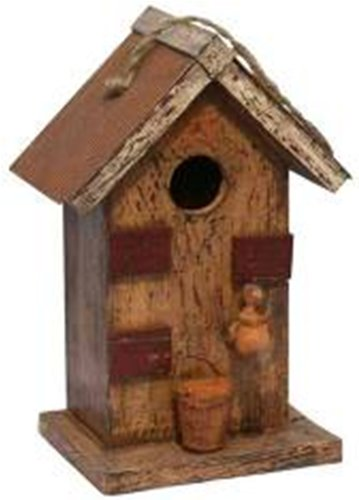 Garden Decoration HT121007MS Birdhouse, 12-Inch, Mustard