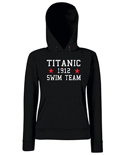 Cotton Island - Felpa Donna Cappuccio TR0138 Titanic Swim Team T-Shirt, Taglia M