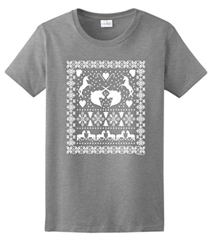 Ugly Christmas Sweater With Unicorns Ladies T-Shirt Medium Sport Grey