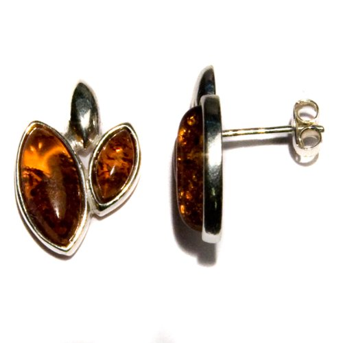 Certified Genuine Honey Amber and Sterling Silver Two-stone Stud Earrings