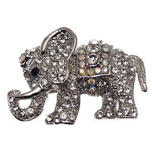 CHANDAA Silver Multi-Col Crystal Elephant Brooch