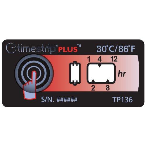 Timestrip Plus 800-136 Ascending Temperature Indicator For Extreme Room Temperature, 30 Degree C / 86 Degree F (Pack Of 20)