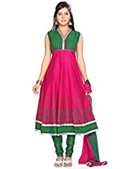 Utsav Fashion Women's Fuchsia Chanderi Cotton Readymade Anarkali Churidar Kameez-Large