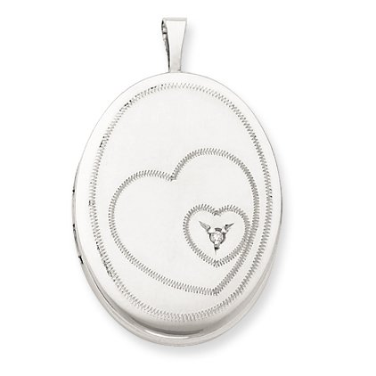 Genuine .925 Sterling Silver & Diamond 20mm Satin & D/C Oval Locket. 100% Satisfaction Guaranteed.