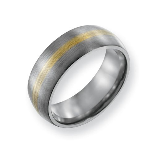 Titanium 14k Gold Inlay 8mm Brushed Comfort Fit Wedding Band Ring (SIZE 12 )