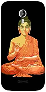 Snoogg Buddha for Peace Black Designer Protective Back Case Cover For Micromax A116