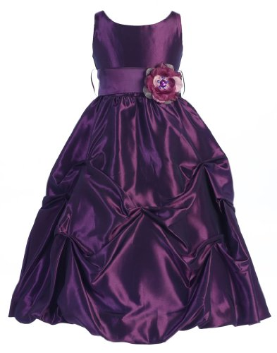 Wonder Girl Flower S-Band Taffeta Long Tea Length Flower Girl Dress Sizes 2 to 14