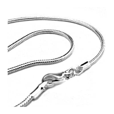 "20"" 2mm Silver Plated Snake Chain Necklace - Italian Style Shimmering High Polish: Jewelry"