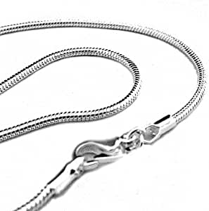 "20"" 2mm Silver Plated Snake Chain Necklace - Italian Style Shimmering High Polish"