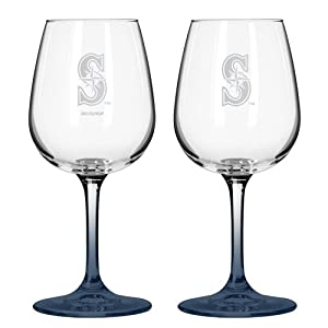 MLB Seattle Mariners Satin Etch 2-Ounce Wine Glass (Pack of 2) by Boelter