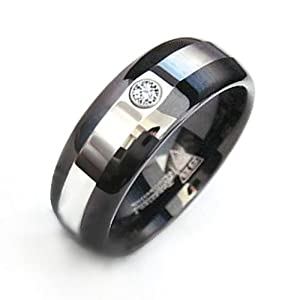 Bling Jewelry Black Mens Tungsten CZ Diamond Wedding Band Ring
