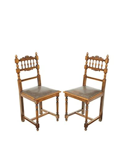 Pair of Renaissance Style Chairs, Brown