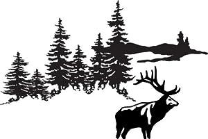 Hunting Scene Animal - Kids Bed Room Peel & Stick Sticker Size: 21x31 Color: Black