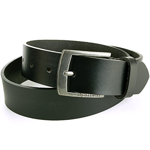 Alpine Swiss Men's Casual Jean Belt 35MM Genuine Leather Silver Buckle Black 36 (Solid Leather Belt compare prices)