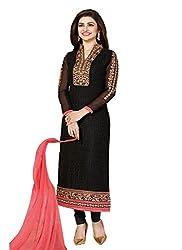 Meet Enterprise Prachi Black & Peach Georgette Designer Dress Material