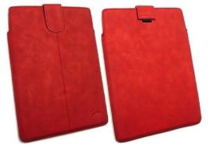 Emartbuy ® Rouge Pu Cuir Diapositives Sécurisé À Pouch / Case / Sleeve / Support Avec Un Mécanisme De Tirette Adapté Pour Samsung Galaxy Tab 2 10.1 Tablet (P5100 / P5110) (10-11 Pouces Tablet)