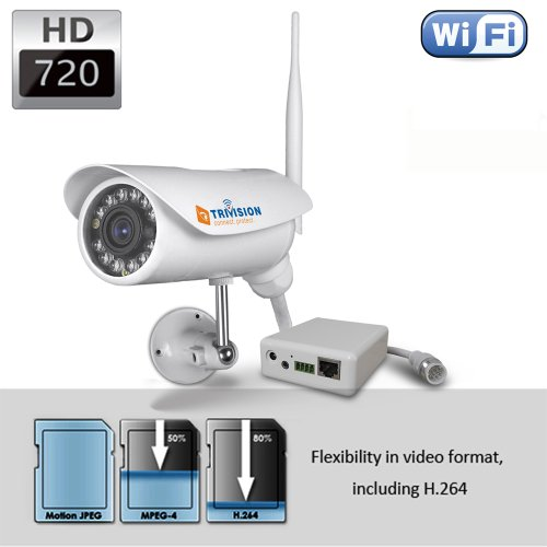 Trivision Bullet Nc-326W Hd 720P Home Ip Security Camera System Outdoor Weatherproof With 1280 X 720 Pixel High Resolution And Install In 3 Simple Step With Free Dedicate App On Iphone, Ipad, Android Smart Phone And More.